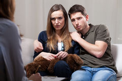 Scared couple during therapy Stock Photos