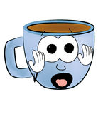 Scared Cup of coffee cartoon Royalty Free Stock Photos