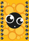 Scared cute monster, frame of monsters, vector Stock Images