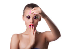Scared cute woman take ripe cherry with blindness Stock Photo