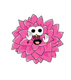 Scared dahlia flower cartoon Royalty Free Stock Images