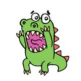 Scared dinosaur illustration. Cute screaming character Royalty Free Stock Photo
