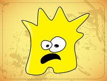 Scared  dishevelled yellow monster Royalty Free Stock Photo