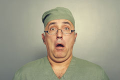 Scared doctor in glasses Royalty Free Stock Image