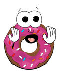 Scared doughnut cartoon Stock Photos