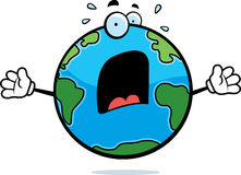 Scared Earth. A cartoon planet Earth with a scared expression