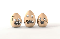 Scared Egg Characters. 3 made up eggs with human emotion that are obviously fightened or scared by something Stock Photos