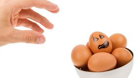 Scared egg, waiting to be grabbed by a hand Stock Photo