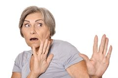 Scared elderly woman Stock Photography