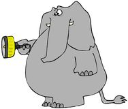 Scared elephant with a flashlight. This illustration depicts an elephant with a frightened expression holding a flashlight Stock Photos