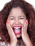 Scared face of girl stock images