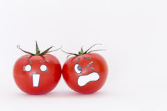 Scared face tomatoes with white background Royalty Free Stock Photo
