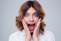 Scared face of woman Royalty Free Stock Image