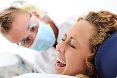 Scared female at hospital Royalty Free Stock Photos