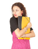 Scared female student Stock Photo