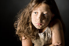 Scared and Filthy Brown Haired Child Stock Image