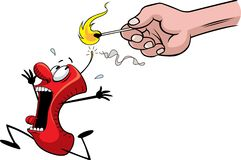 Scared firecracker. A cartoon of a frightened firecracker running for his life. Layered vector and high resolution jpeg files available Royalty Free Stock Images