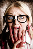 Scared Frightened Business Woman Living In Fear Stock Photo