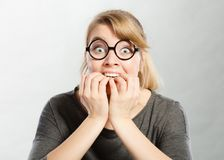 Scared frightened young female stock images