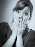 Scared frightened young female. Royalty Free Stock Photography
