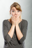 Scared frightened young female. Stock Photos