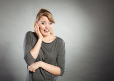 Scared frightened young female. Stock Images
