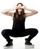 Scared.Young Woman covering her eyes. Stock Images