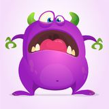 Scared funny cartoon monster. Halloween vector illustration of purple monster character. Design for print, sticker or party decora. Tion Royalty Free Stock Photos