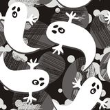 Scared ghosts on dark halloween pattern Royalty Free Stock Images