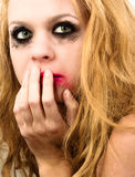Scared girl. With beautiful blond hair Stock Photography