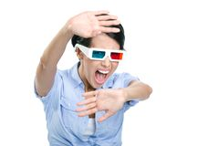 Scared girl in 3D glasses Stock Image