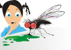 Scared girl and big fly. Vector illustration of large fly feeding on green substance with scared girl in background, isolated over white Royalty Free Stock Image