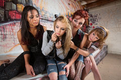 Scared Girl with Friends stock photography