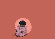 Scared Girl Sitting Alone. Hand drawn illustration of abused child sitting alone Royalty Free Stock Photography