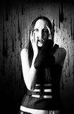 Scared goth woman portrait Stock Photography
