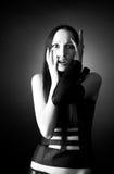 Scared goth woman portrait Stock Photo