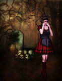 Scared gothic girl Stock Photo