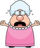 Scared Grandma. A cartoon grandma with a scared expression stock illustration