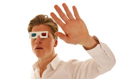 Scared guy with 3d movie glasses Stock Image