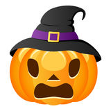 Scared Halloween Pumpkin with Witch Hat Royalty Free Stock Photos