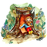 Scared hobbit. The folclore creature scared of work. Cute doodle hobbit, living in the forest among bees, flowers and stones Stock Photos