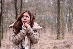 Scared Japanese girl with camera in a dark forest Stock Images
