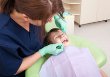 Scared kid at dentist Royalty Free Stock Photos