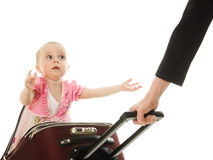 Scared kid in suitcase isolated Stock Photography