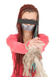 Scared kidnapped young woman, hostage Royalty Free Stock Images
