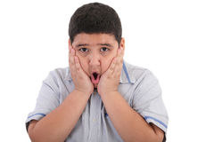 Scared litle kid boy holding hands on face. And screaming isolated on white background Stock Images