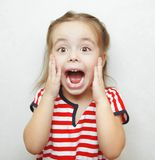 Scared little girl with wide open mouth and big eyes. Scared little adorable girl with wide open mouth, big bright brown eyes and hands on cheeks dressed in Stock Image