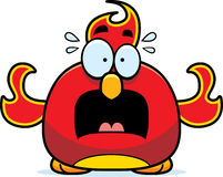 Scared Little Phoenix. A cartoon illustration of a phoenix bird looking scared Stock Photos