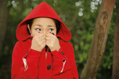 Scared Little Red Riding Hood Stock Photography