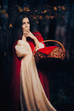 Scared Little Red Riding Hood Hiding in the Forest Stock Photos